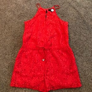 EUC red lace romper with tie waist!